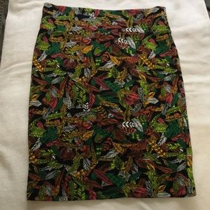 Colorful feather print skirt